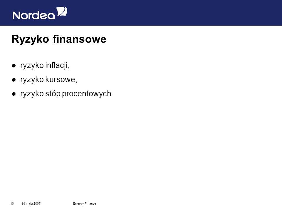 14 maja 2007Energy Finance10 Ryzyko finansowe ryzyko inflacji, ryzyko kursowe, ryzyko stóp procentowych.