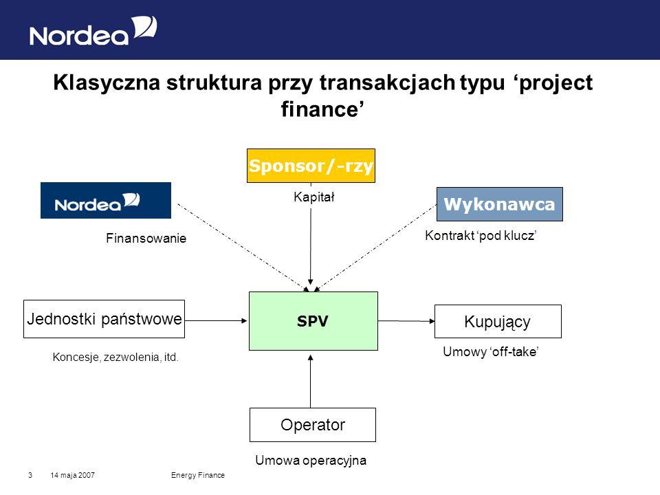 14 maja 2007Energy Finance3 Klasyczna struktura przy transakcjach typu project finance Operator Jednostki państwowe Kupujący Sponsor/-rzy Wykonawca SPV Umowy off-take Koncesje, zezwolenia, itd.
