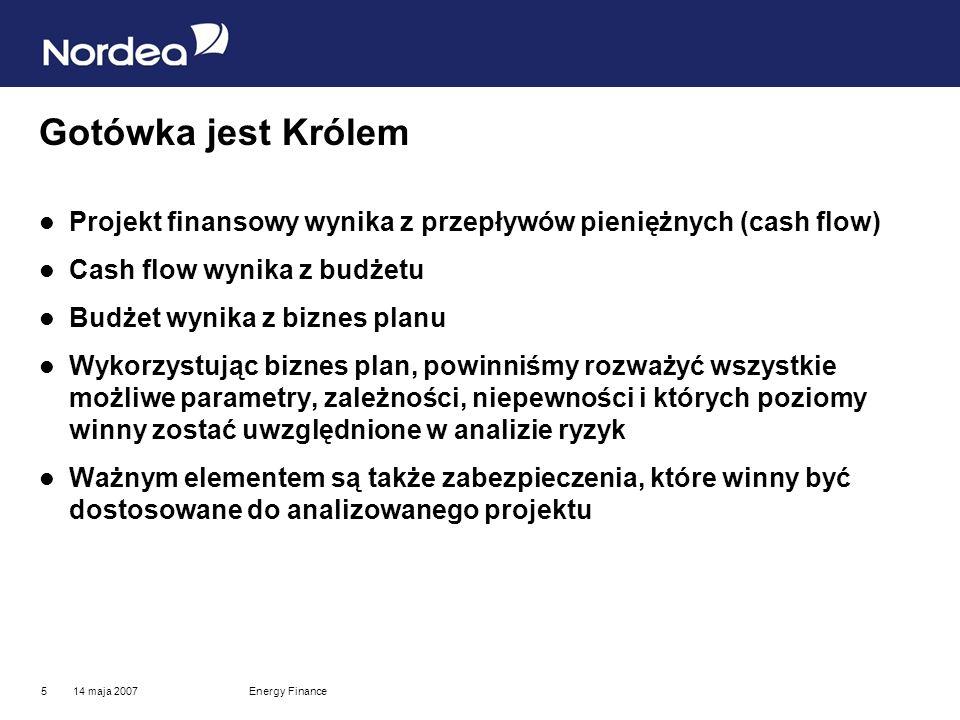 14 maja 2007Energy Finance6 10 głównych ryzyk 1.kapitałowe 2.