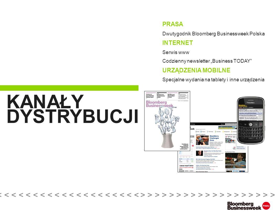 PRASA Dwutygodnik Bloomberg Businessweek Polska INTERNET Serwis www Codzienny newsletter Business TODAY URZĄDZENIA MOBILNE Specjalne wydania na tablety i inne urządzenia KANAŁY DYSTRYBUCJI > > > > > > > > > > > > > > > > > > > > >< < < < < < < < < < < < < < < < < < < < <
