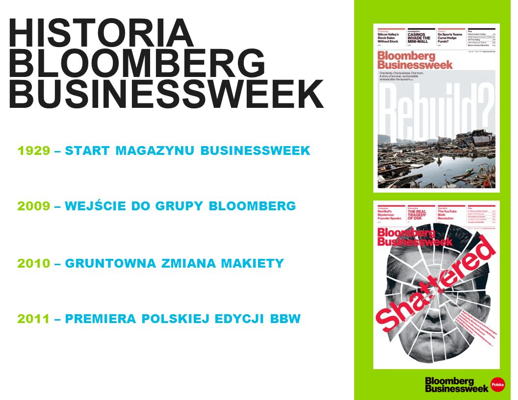 HISTORIA BLOOMBERG BUSINESSWEEK 1929 – START MAGAZYNU BUSINESSWEEK 2009 – WEJŚCIE DO GRUPY BLOOMBERG 2010 – GRUNTOWNA ZMIANA MAKIETY 2011 – PREMIERA P