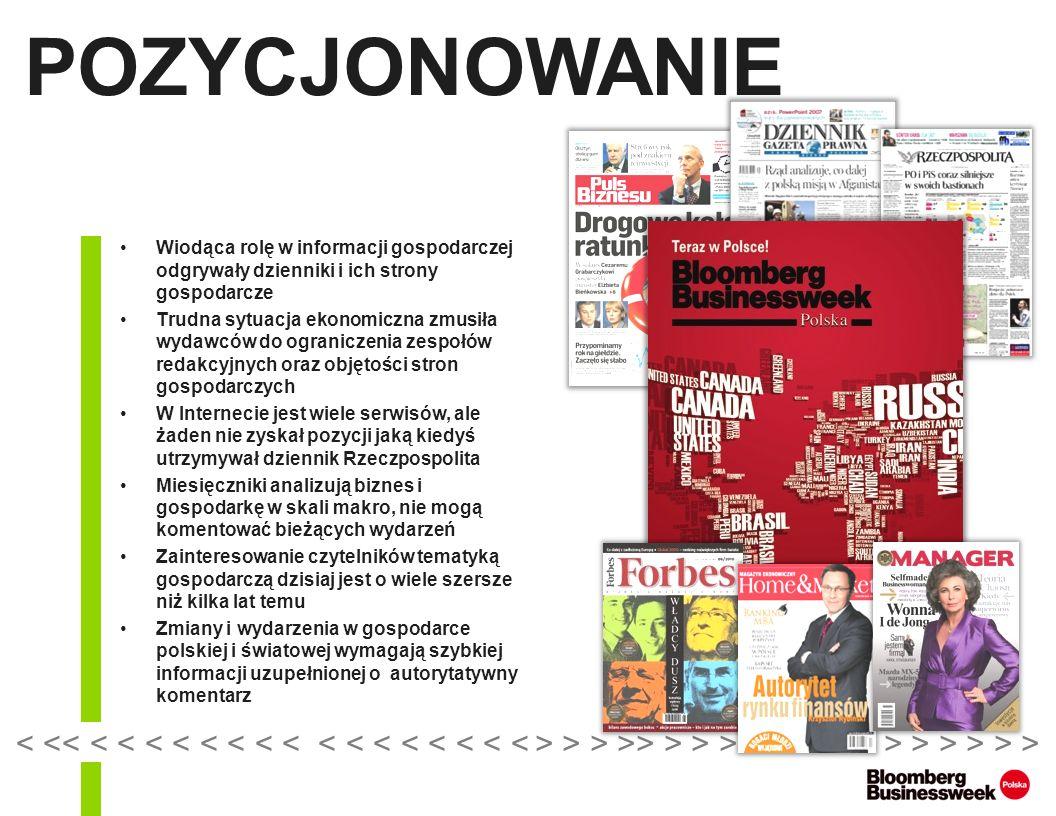 POZYCJONOWANIE (2) Informuje równie szybko co dzienniki w codziennym newsletterze Business Today Komentuje na łamach magazynu szerzej niż jest to możliwe w dziennikach Oferuje wysoką jakość druku zbliżoną do miesięczników Dostarcza informacji dwukrotnie szybciej niż miesięczniki BBWP Polska