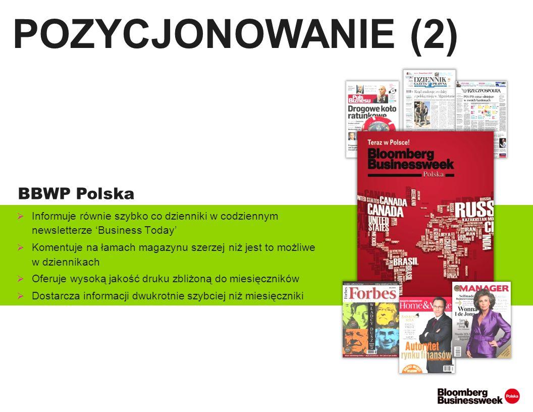 OBJĘTOŚĆ: 68 stron Dodatek tematyczny: CO DRUGI NUMER Główne działy: Świat i gospodarka, Firmy i Rynki, Biznes i Polityka, Technologie, Finanse i Inwestycje, Biznes po godzinach EDYCJA POLSKA Michał KOBOSKO Redaktor naczelny polskiej edycji BBW.