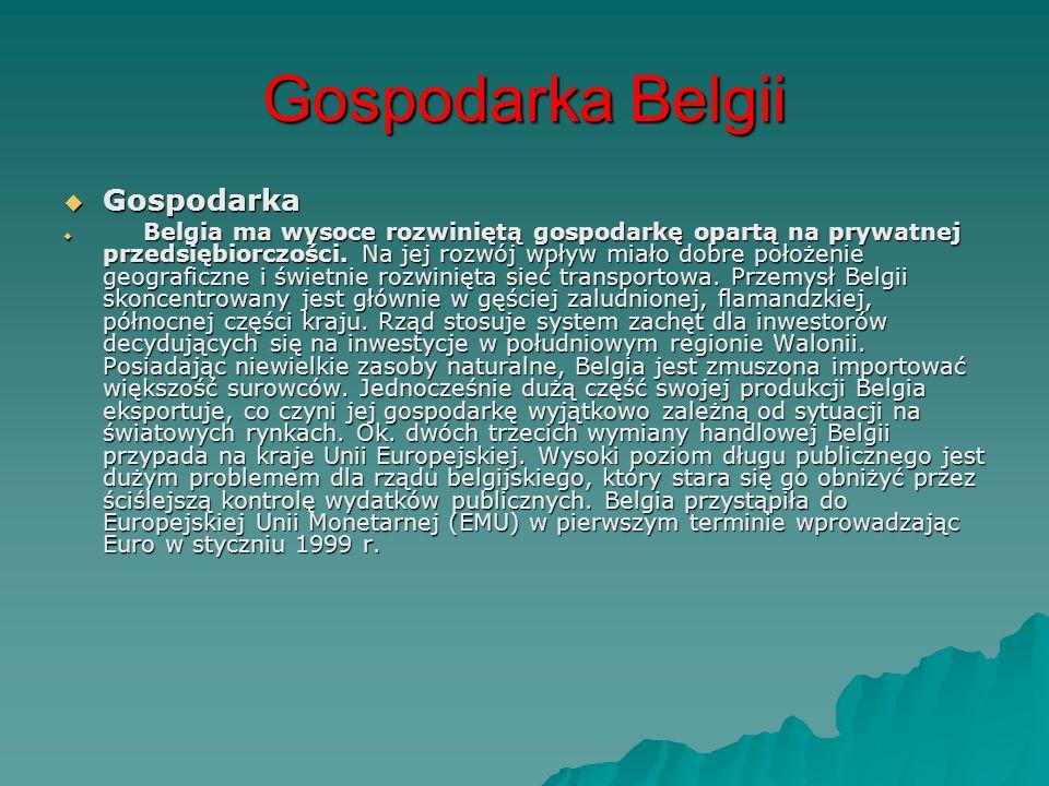Gospodarka Belgii Gospodarka Gospodarka Belgia ma wysoce rozwiniętą gospodarkę opartą na prywatnej przedsiębiorczości. Na jej rozwój wpływ miało dobre