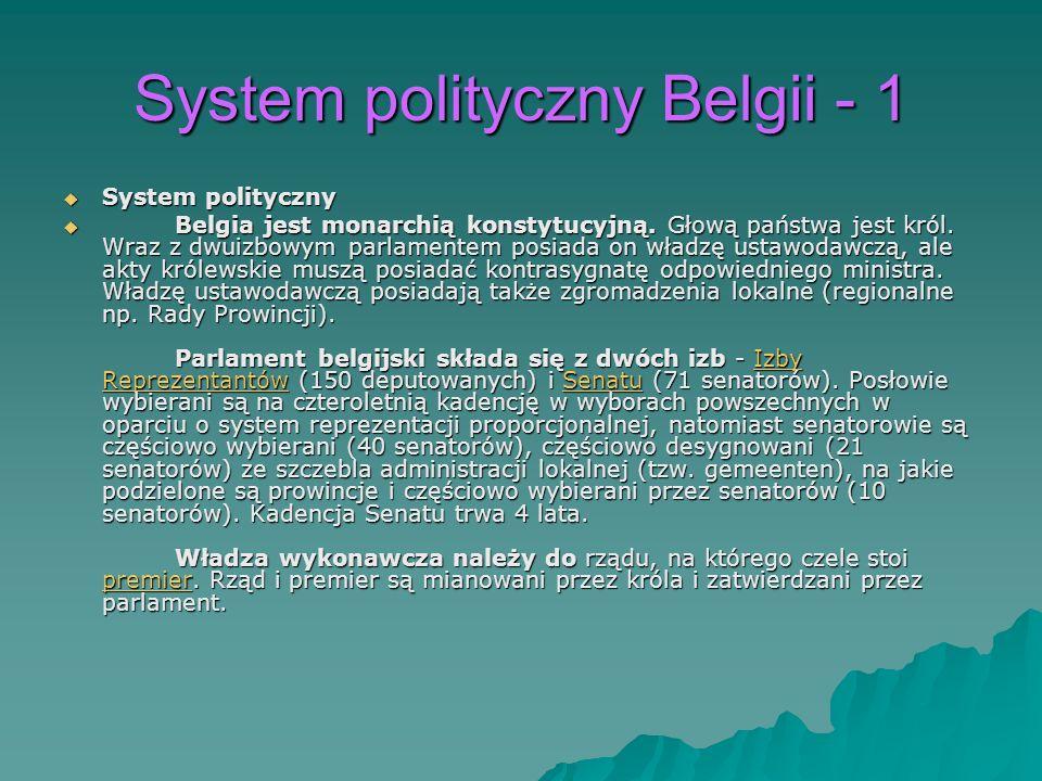 System polityczny Belgii - 1 System polityczny System polityczny Belgia jest monarchią konstytucyjną. Głową państwa jest król. Wraz z dwuizbowym parla