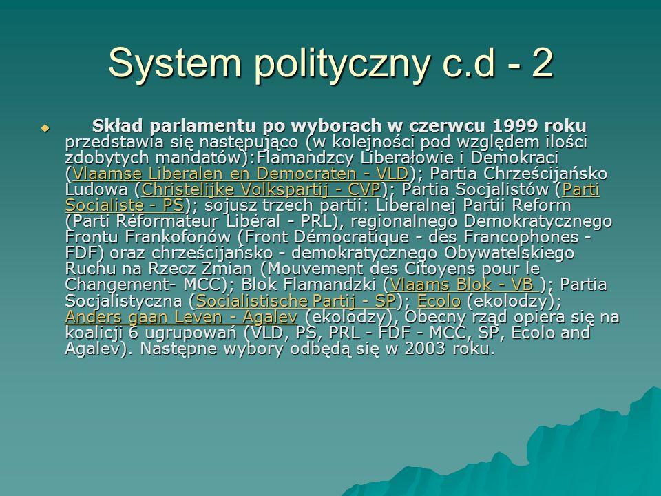 System polityczny c.d - 2 Skład parlamentu po wyborach w czerwcu 1999 roku przedstawia się następująco (w kolejności pod względem ilości zdobytych man