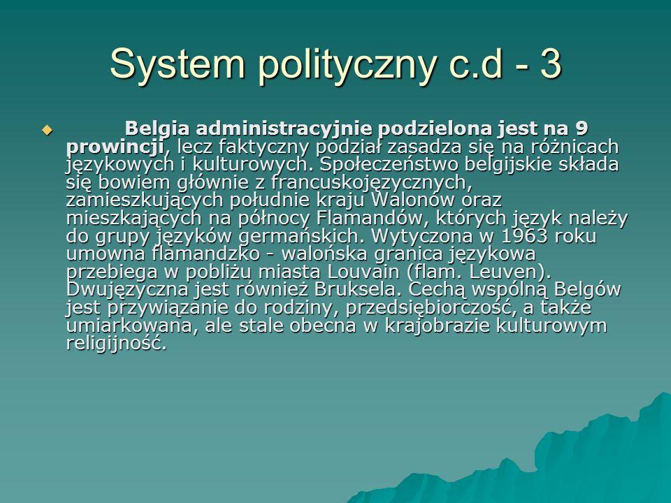 System polityczny c.d - 3 Belgia administracyjnie podzielona jest na 9 prowincji, lecz faktyczny podział zasadza się na różnicach językowych i kulturo