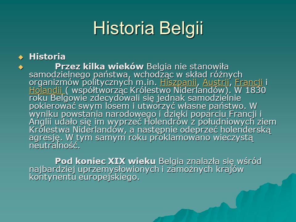 Historia Belgii Historia Historia Przez kilka wieków Belgia nie stanowiła samodzielnego państwa, wchodząc w skład różnych organizmów politycznych m.in