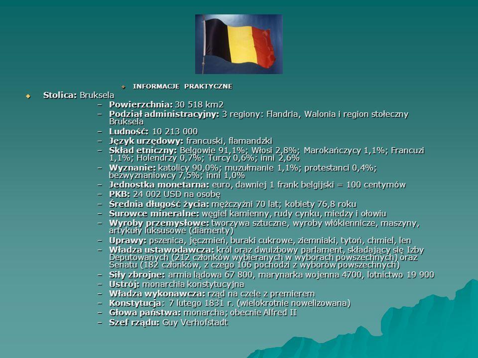 INFORMACJE PRAKTYCZNE INFORMACJE PRAKTYCZNE Stolica: Bruksela Stolica: Bruksela –Powierzchnia: 30 518 km2 –Podział administracyjny: 3 regiony: Flandri