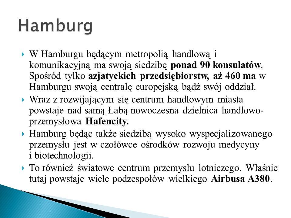 W Hamburgu będącym metropolią handlową i komunikacyjną ma swoją siedzibę ponad 90 konsulatów. Spośród tylko azjatyckich przedsiębiorstw, aż 460 ma w H
