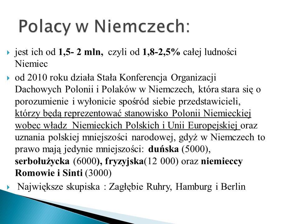 jest ich od 1,5- 2 mln, czyli od 1,8-2,5% całej ludności Niemiec od 2010 roku działa Stała Konferencja Organizacji Dachowych Polonii i Polaków w Niemc