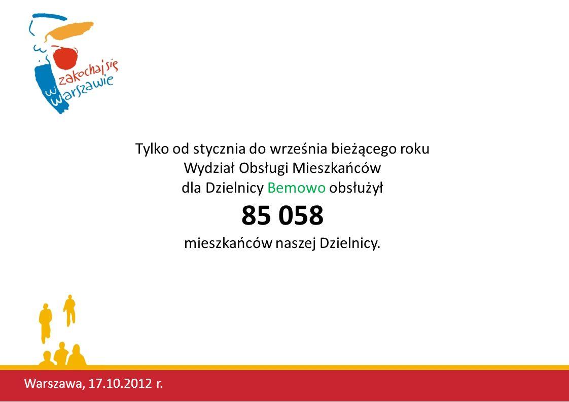 Tylko od stycznia do września bieżącego roku Wydział Obsługi Mieszkańców dla Dzielnicy Bemowo obsłużył 85 058 mieszkańców naszej Dzielnicy. Warszawa,
