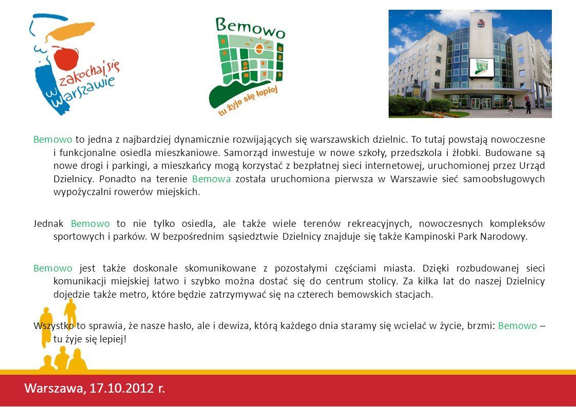 WYDZIAŁ OBSŁUGI MIESZKAŃCÓW DLA DZIELNICY BEMOWO Warszawa, 17.10.2012 r.