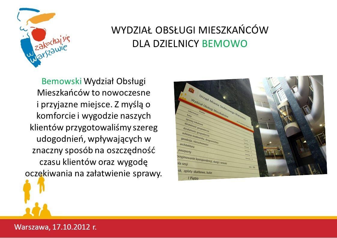 NOWOCZESNY WOM NA BEMOWIE W grudniu 2011 roku, w celu poprawienia komfortu obsługi klienta oraz zlikwidowania barier pomiędzy urzędnikiem a klientem, zmieniliśmy aranżację środowiska pracy.