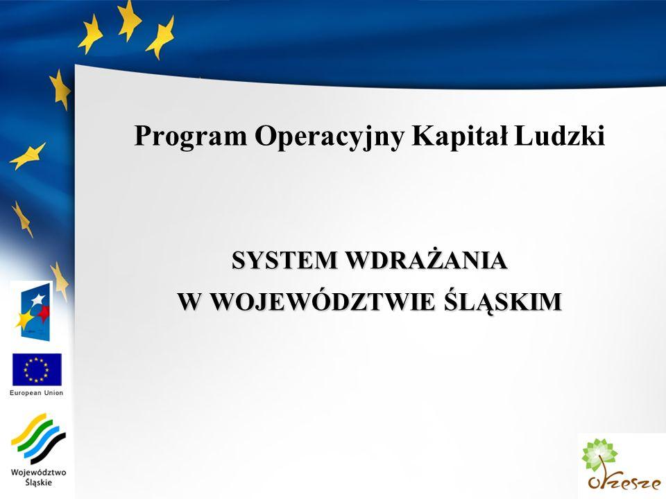 Program Operacyjny Kapitał Ludzki SYSTEM WDRAŻANIA W WOJEWÓDZTWIE ŚLĄSKIM