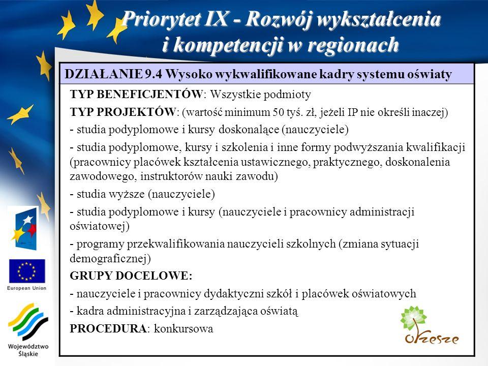 Priorytet IX - Rozwój wykształcenia i kompetencji w regionach DZIAŁANIE 9.4 Wysoko wykwalifikowane kadry systemu oświaty TYP BENEFICJENTÓW: Wszystkie podmioty TYP PROJEKTÓW: (wartość minimum 50 tyś.