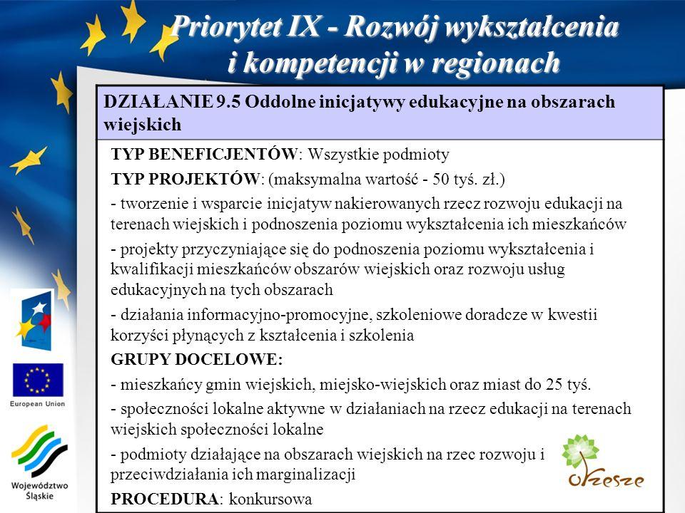 Priorytet IX - Rozwój wykształcenia i kompetencji w regionach DZIAŁANIE 9.5 Oddolne inicjatywy edukacyjne na obszarach wiejskich TYP BENEFICJENTÓW: Wszystkie podmioty TYP PROJEKTÓW: (maksymalna wartość - 50 tyś.