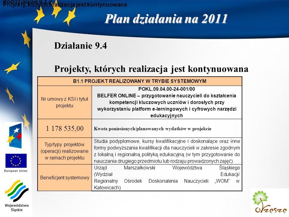 Plan działania na 2011 Poddziałanie 9.1.2 B1.1 PROJEKT REALIZOWANY W TRYBIE SYSTEMOWYM Nr umowy z KSI i tytuł projektu POKL.09.04.00-24-001/00 BELFER ONLINE – przygotowanie nauczycieli do kształcenia kompetencji kluczowych uczniów i dorosłych przy wykorzystaniu platform e-lerningowych i cyfrowych narzędzi edukacyjnych 1 178 535,00 Kwota poniesionych/planowanych wydatków w projekcie Typ/typy projektów (operacji) realizowane w ramach projektu Studia podyplomowe, kursy kwalifikacyjne i doskonalące oraz inne formy podwyższania kwalifikacji dla nauczycieli w zakresie zgodnym z lokalną i regionalną polityką edukacyjną (w tym przygotowanie do nauczania drugiego przedmiotu lub rodzaju prowadzonych zajęć).