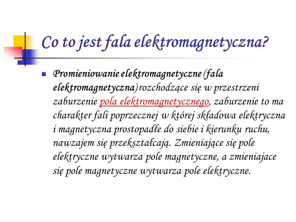 Co to jest fala elektromagnetyczna? Promieniowanie elektromagnetyczne (fala elektromagnetyczna) rozchodzące się w przestrzeni zaburzenie pola elektrom