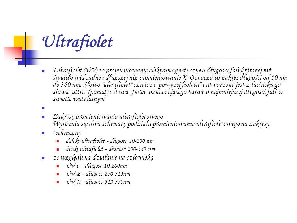 Ultrafiolet Ultrafiolet (UV) to promieniowanie elektromagnetyczne o długości fali krótszej niż światło widzialne i dłuższej niż promieniowanie X. Ozna