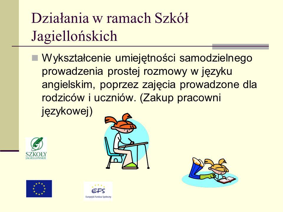 Działania w ramach Szkół Jagiellońskich Wykształcenie umiejętności samodzielnego prowadzenia prostej rozmowy w języku angielskim, poprzez zajęcia prowadzone dla rodziców i uczniów.