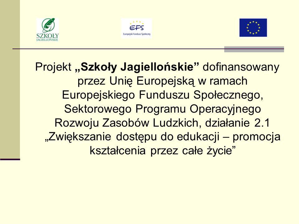 Projekt Szkoły Jagiellońskie dofinansowany przez Unię Europejską w ramach Europejskiego Funduszu Społecznego, Sektorowego Programu Operacyjnego Rozwoju Zasobów Ludzkich, działanie 2.1 Zwiększanie dostępu do edukacji – promocja kształcenia przez całe życie