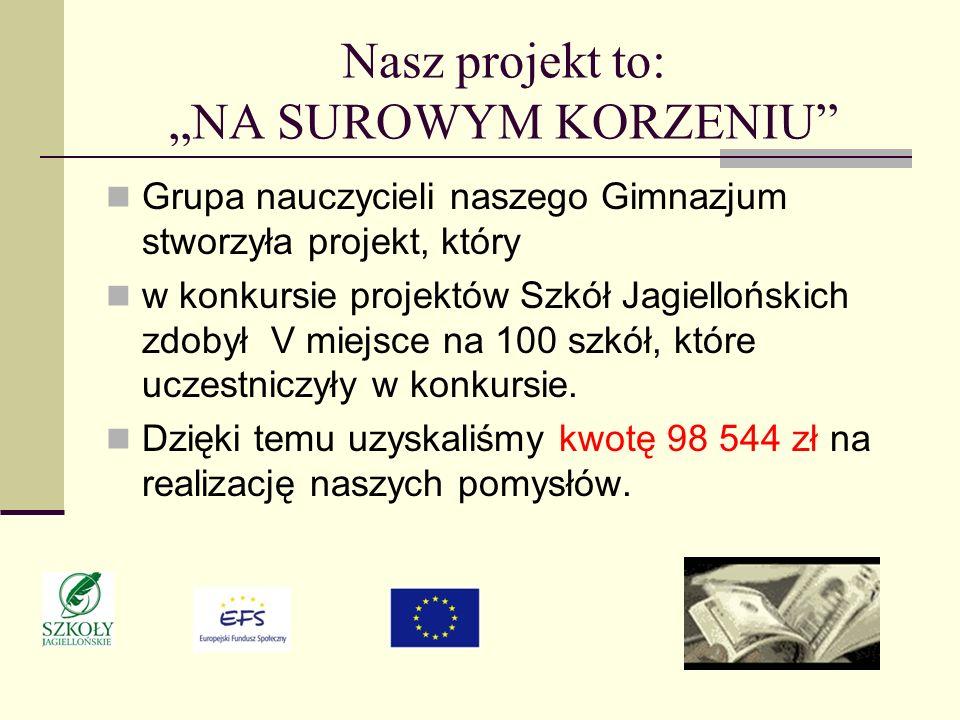 Nasz projekt to: NA SUROWYM KORZENIU Grupa nauczycieli naszego Gimnazjum stworzyła projekt, który w konkursie projektów Szkół Jagiellońskich zdobył V miejsce na 100 szkół, które uczestniczyły w konkursie.