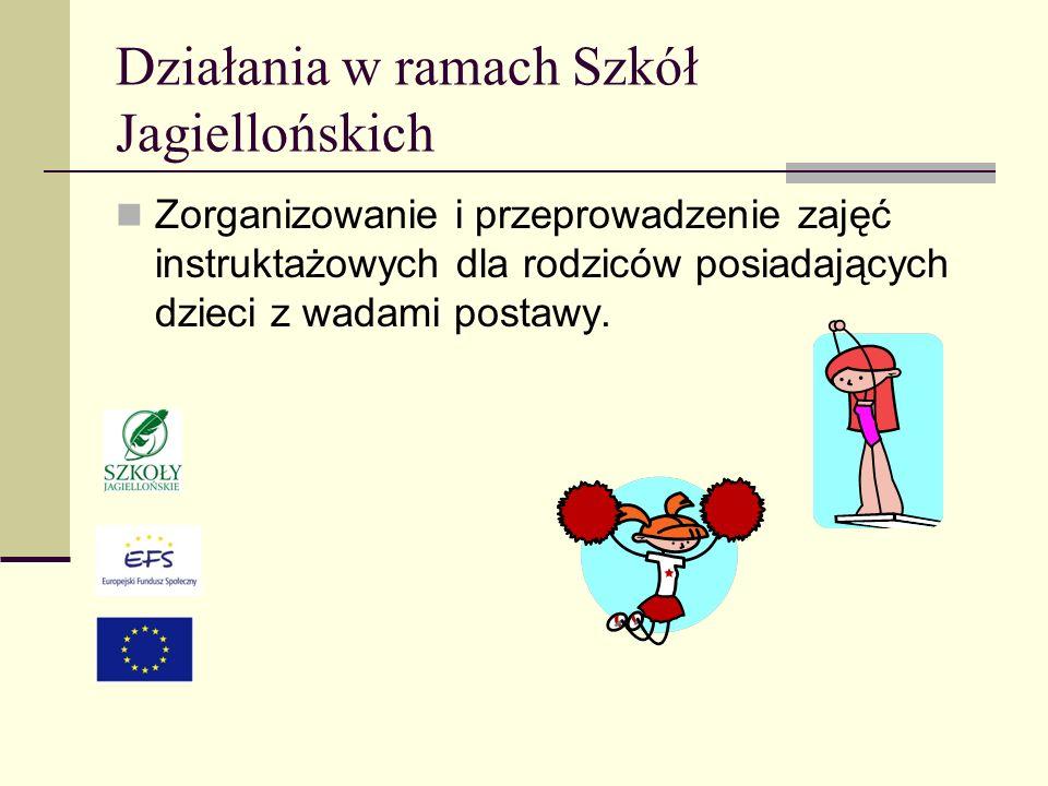 Działania w ramach Szkół Jagiellońskich Zorganizowanie i przeprowadzenie zajęć instruktażowych dla rodziców posiadających dzieci z wadami postawy.