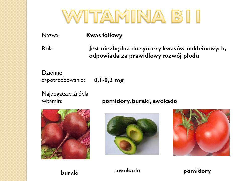 Nazwa: Kwas foliowy Dzienne zapotrzebowanie: 0,1-0,2 mg Najbogatsze źródła witamin: pomidory, buraki, awokado buraki pomidory awokado Jest niezbędna d