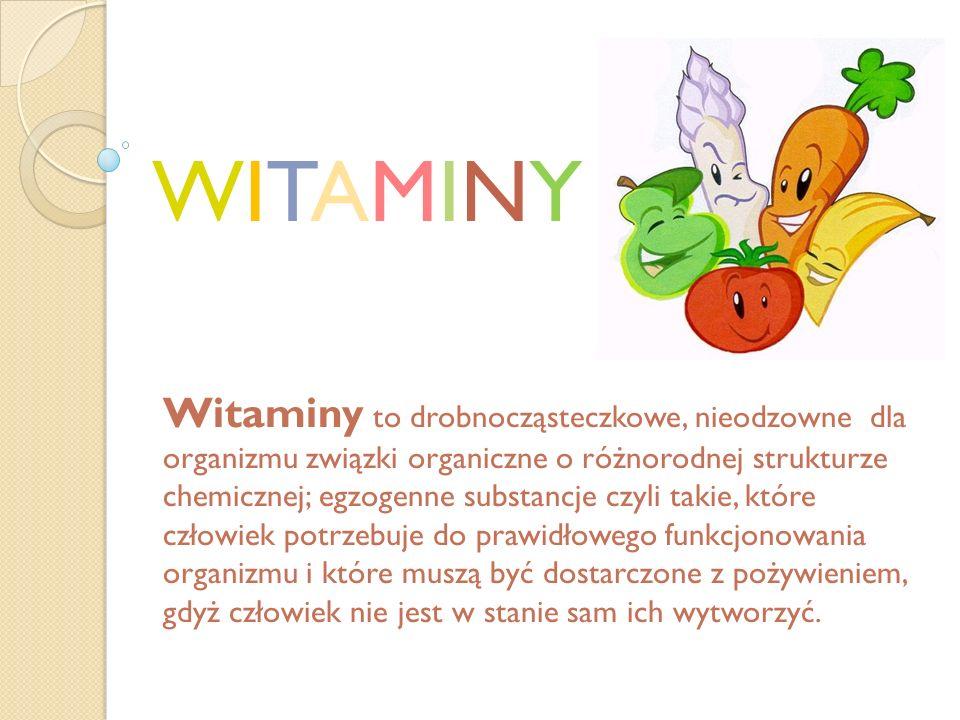 Podział witamin: Rozpuszczalne w tłuszczach: A D E K Rozpuszczalne w wodzie: C B1 B2 B6 PP H B9 B12