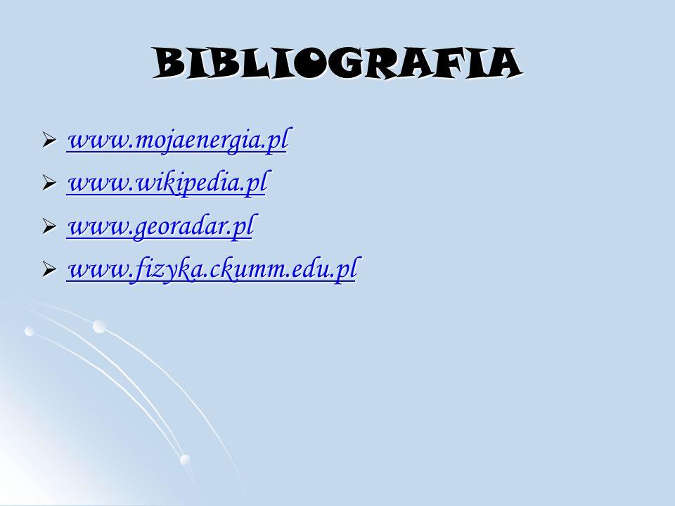 BIBLIOGRAFIA www.mojaenergia.pl www.mojaenergia.pl www.mojaenergia.pl www.wikipedia.pl www.wikipedia.pl www.wikipedia.pl www.georadar.pl www.georadar.pl www.georadar.pl www.fizyka.ckumm.edu.pl www.fizyka.ckumm.edu.pl www.fizyka.ckumm.edu.pl