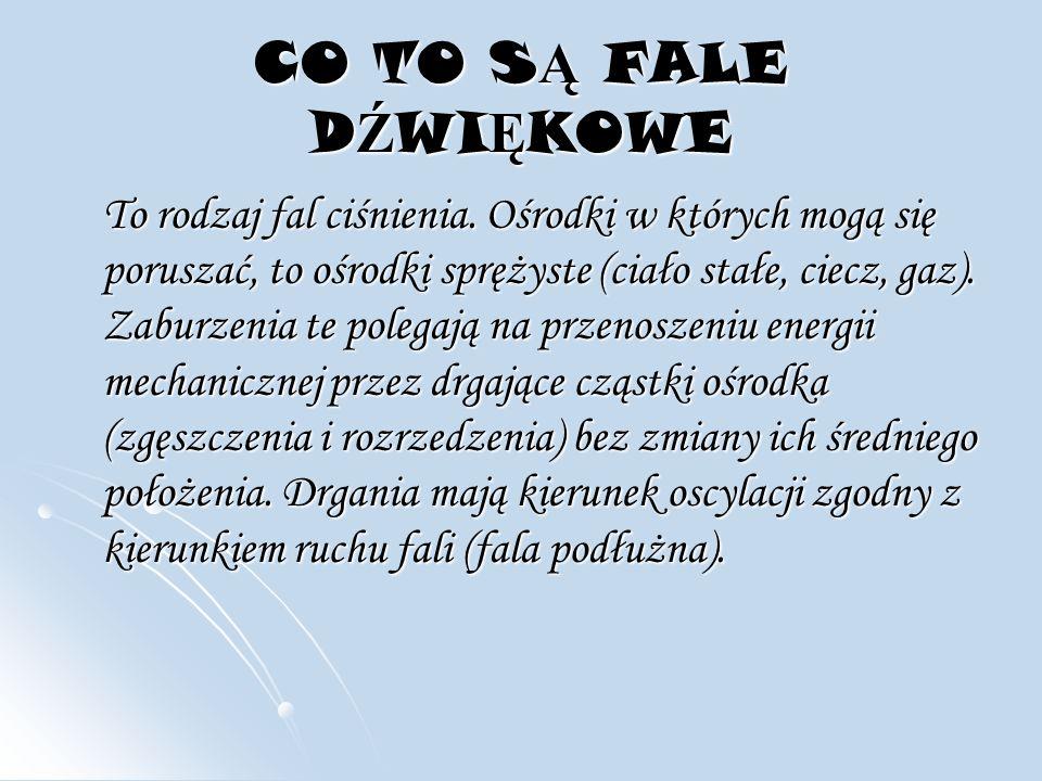 CO TO S Ą FALE D Ź WI Ę KOWE To rodzaj fal ciśnienia.