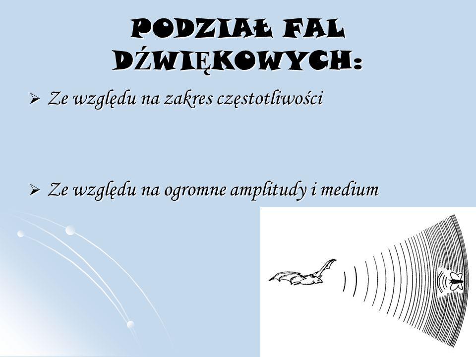 Ze wzgl ę du na zakres cz ę stotliwo ś ci mo ż na rozró ż nić cztery rodzaje tych fal: infradźwięki - poniżej 20 Hz, infradźwięki - poniżej 20 Hz, dźwięki słyszalne 20 Hz - 20 kHz - słyszy je większość ludzi, dźwięki słyszalne 20 Hz - 20 kHz - słyszy je większość ludzi, ultradźwięki - powyżej 20 kHz, ultradźwięki - powyżej 20 kHz, hiperdźwięki - powyżej 10^10 Hz.