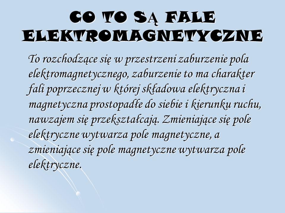 WIDMO FAL ELEKTROMANETYCZNYCH Fale elektromagnetyczne zależnie od długości fali (częstotliwości) przejawiają się jako (od fal najdłuższych do najkrótszych): fale radiowe, podczerwień, światło widzialne, ultrafiolet, promieniowanie rentgenowskie (promieniowanie X), promieniowanie gamma.