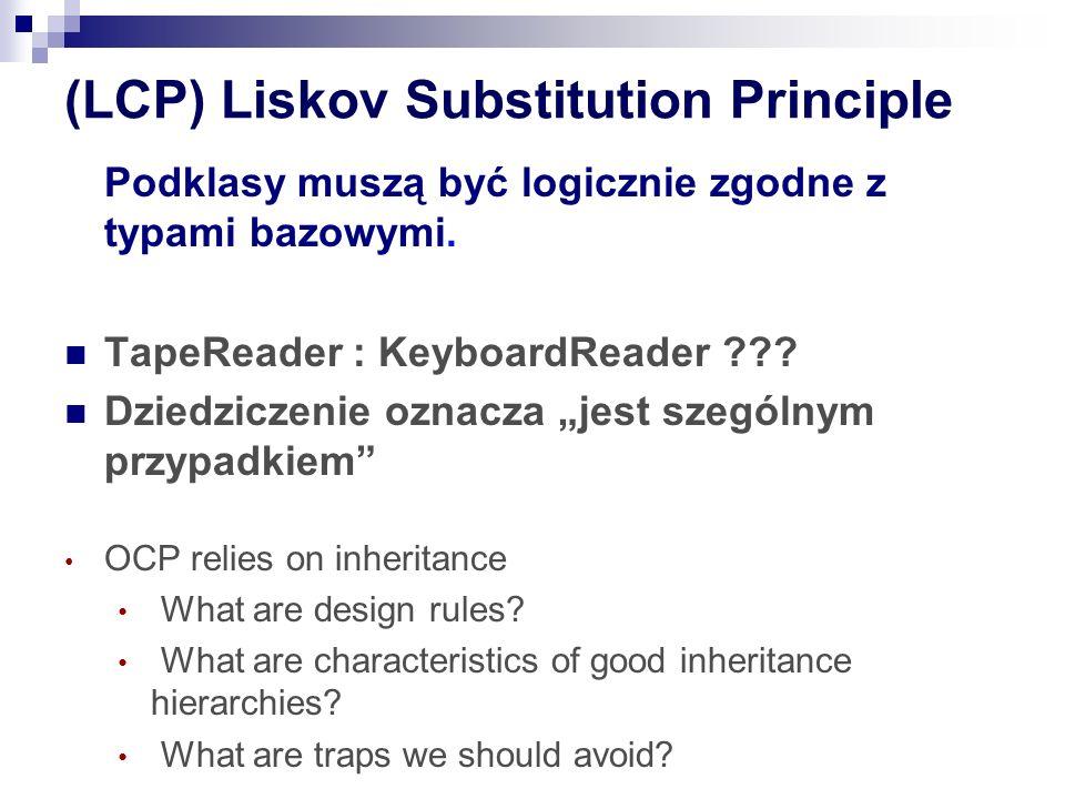 (LCP) Liskov Substitution Principle Podklasy muszą być logicznie zgodne z typami bazowymi.