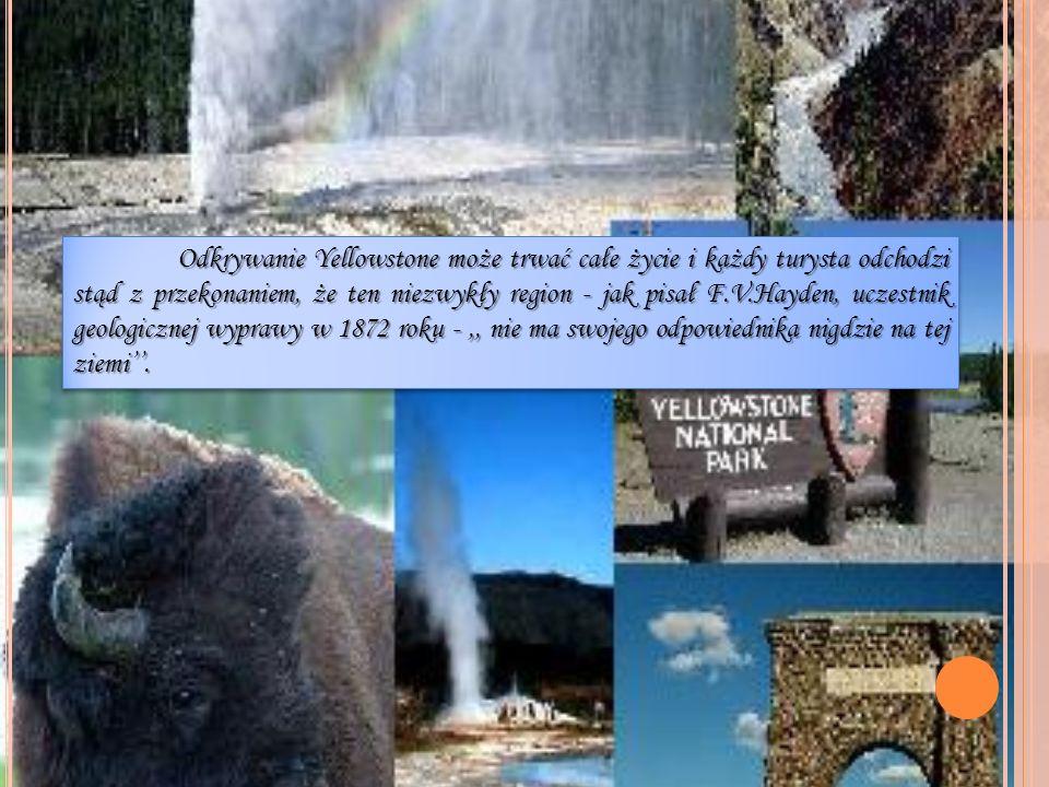 Odkrywanie Yellowstone może trwać całe życie i każdy turysta odchodzi stąd z przekonaniem, że ten niezwykły region - jak pisał F.V.Hayden, uczestnik g