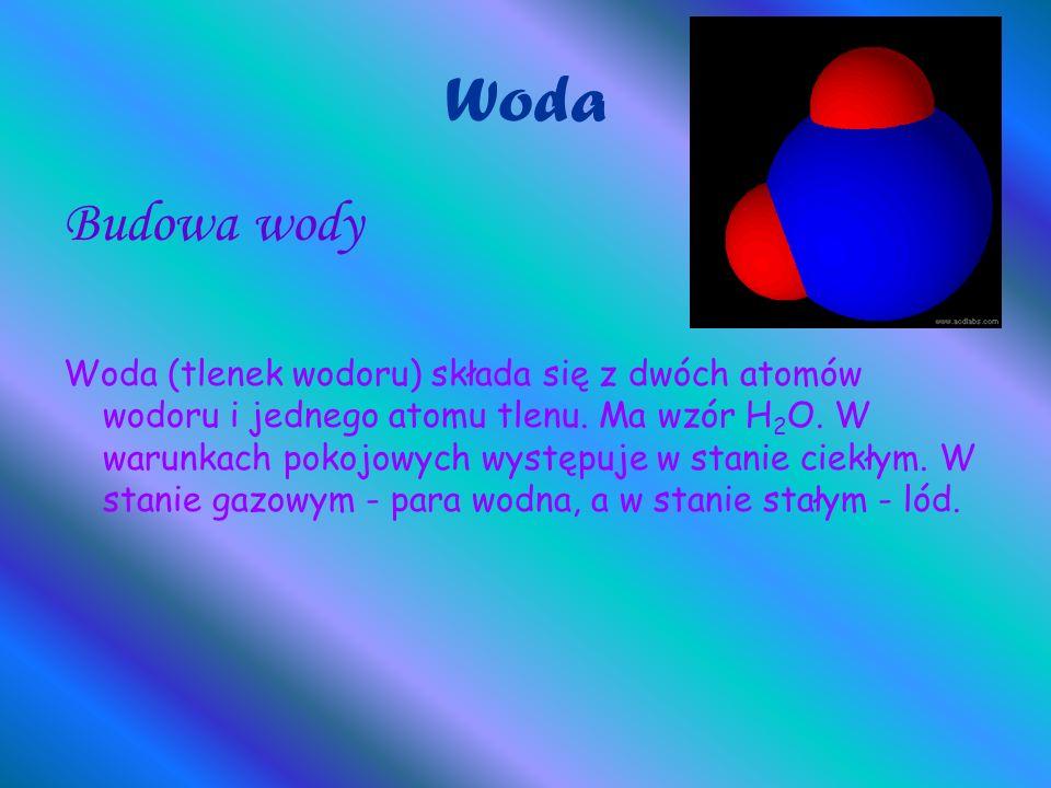 Woda Budowa wody Woda (tlenek wodoru) składa się z dwóch atomów wodoru i jednego atomu tlenu. Ma wzór H 2 O. W warunkach pokojowych występuje w stanie