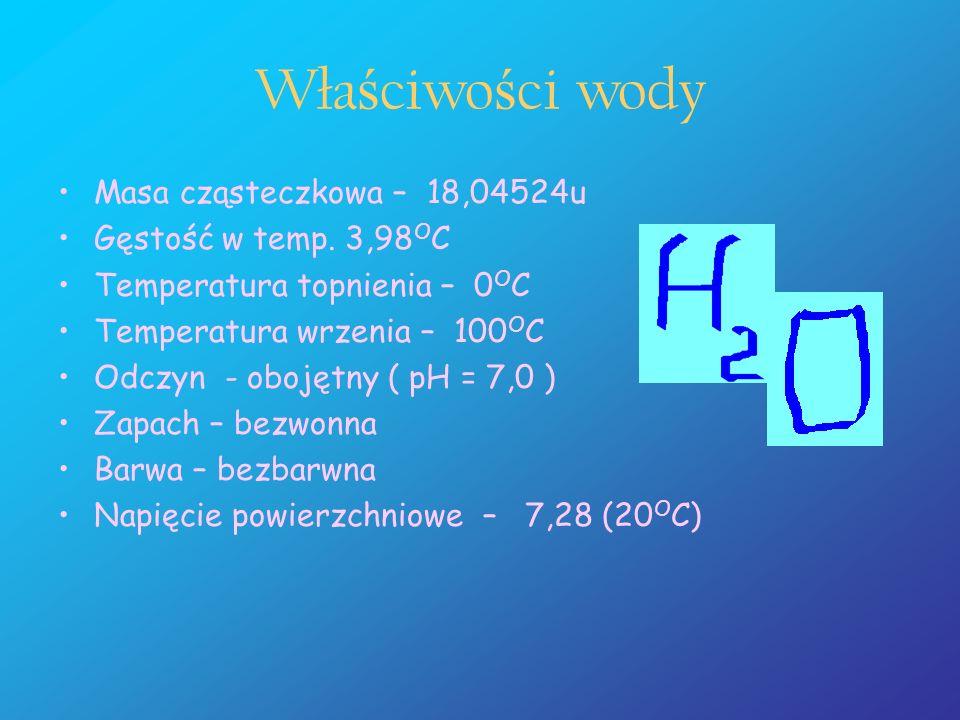 Wła ś ciwo ś ci wody Masa cząsteczkowa – 18,04524u Gęstość w temp. 3,98 O C Temperatura topnienia – 0 O C Temperatura wrzenia – 100 O C Odczyn - oboję