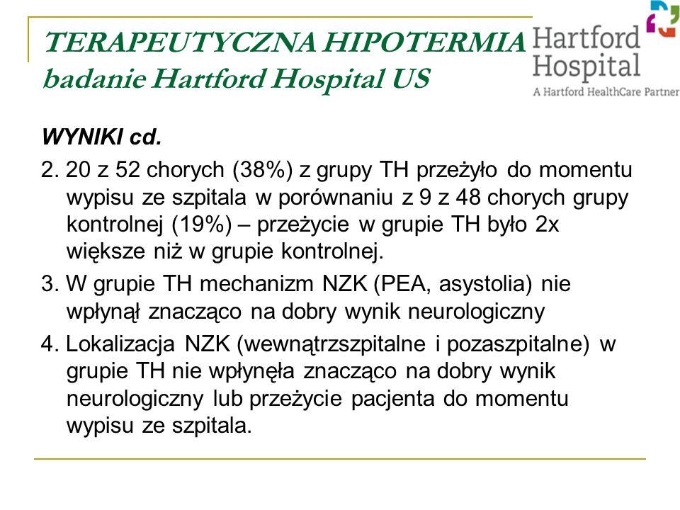 TERAPEUTYCZNA HIPOTERMIA badanie Hartford Hospital US WYNIKI cd.