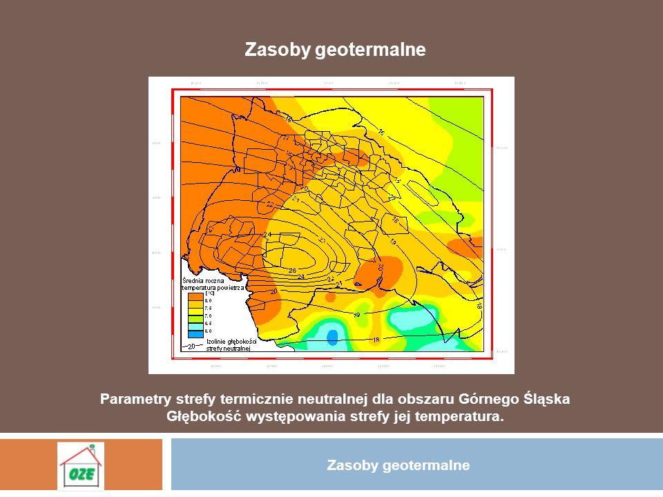 Zasoby geotermalne Parametry strefy termicznie neutralnej dla obszaru Górnego Śląska Głębokość występowania strefy jej temperatura. Zasoby geotermalne