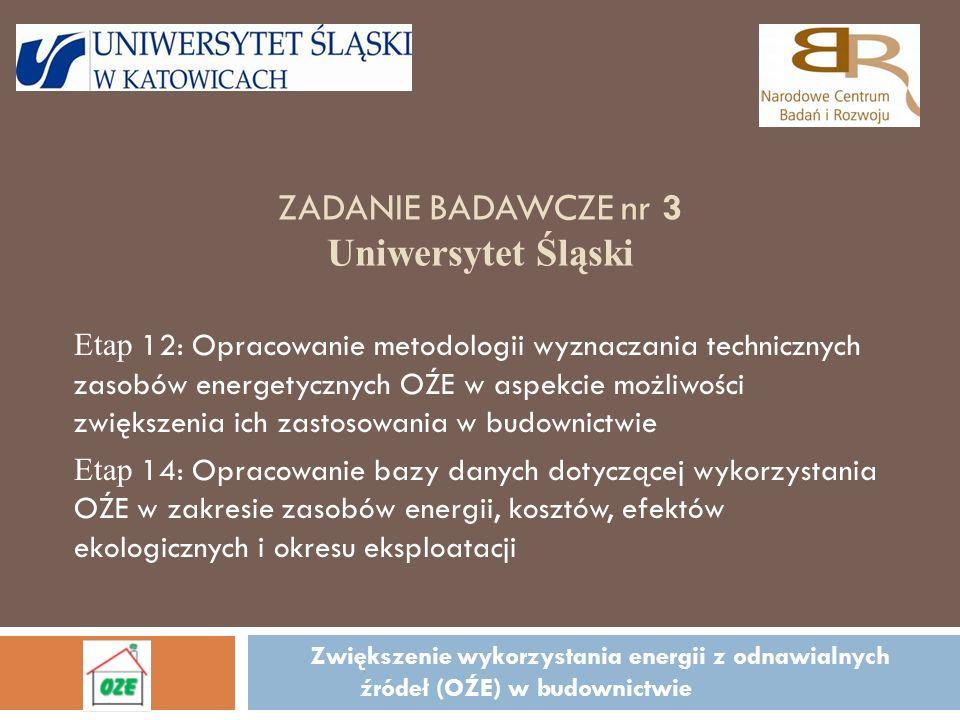ZADANIE BADAWCZE nr 3 Uniwersytet Śląski Zwiększenie wykorzystania energii z odnawialnych źródeł (OŹE) w budownictwie Etap 12: Opracowanie metodologii