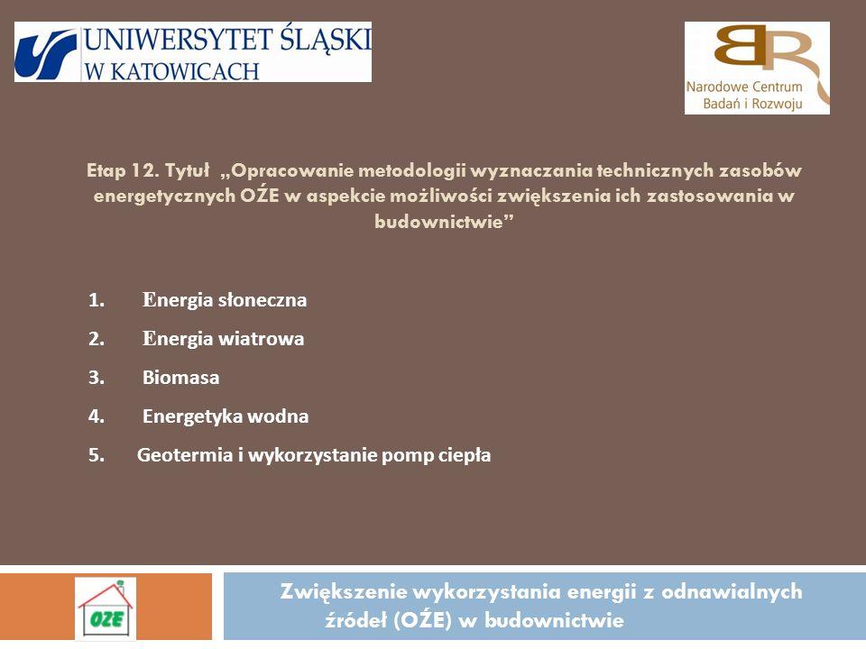 Etap 12. Tytuł Opracowanie metodologii wyznaczania technicznych zasobów energetycznych OŹE w aspekcie możliwości zwiększenia ich zastosowania w budown