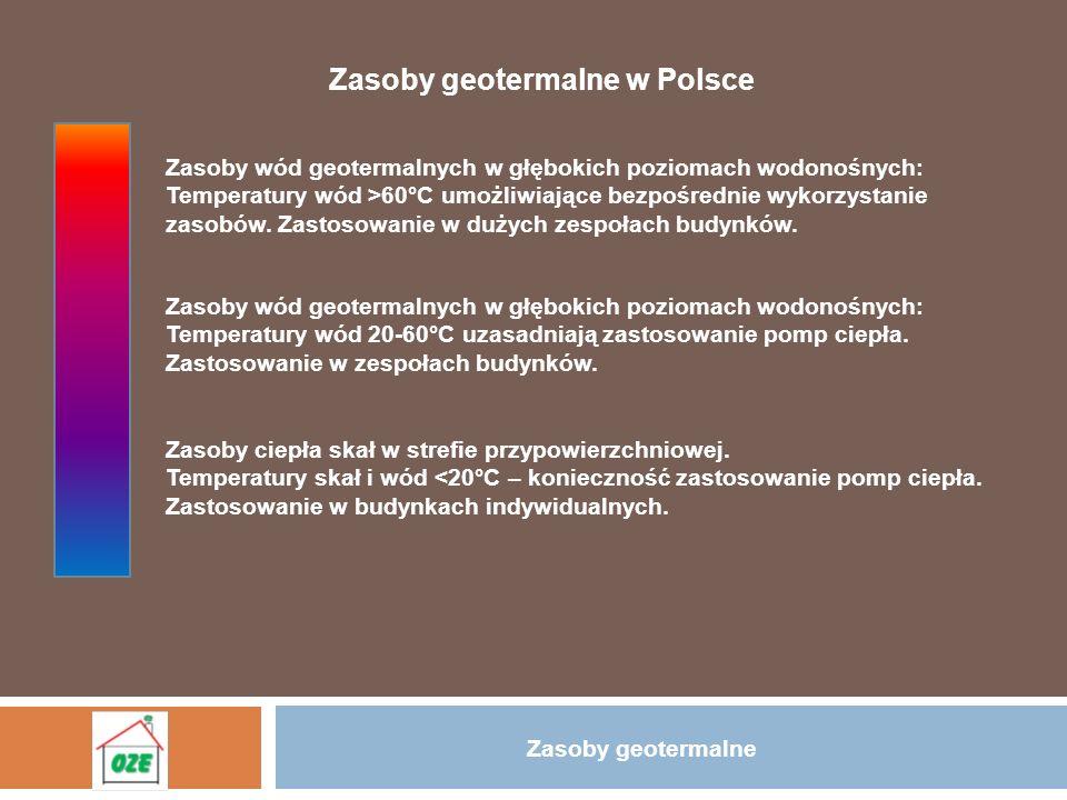 Zasoby geotermalne Zasoby geotermalne w Polsce Zasoby wód geotermalnych w głębokich poziomach wodonośnych: Temperatury wód >60°C umożliwiające bezpośr