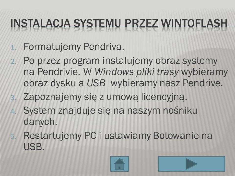 1. Formatujemy Pendriva. 2. Po przez program instalujemy obraz systemy na Pendrivie. W Windows pliki trasy wybieramy obraz dysku a USB wybieramy nasz