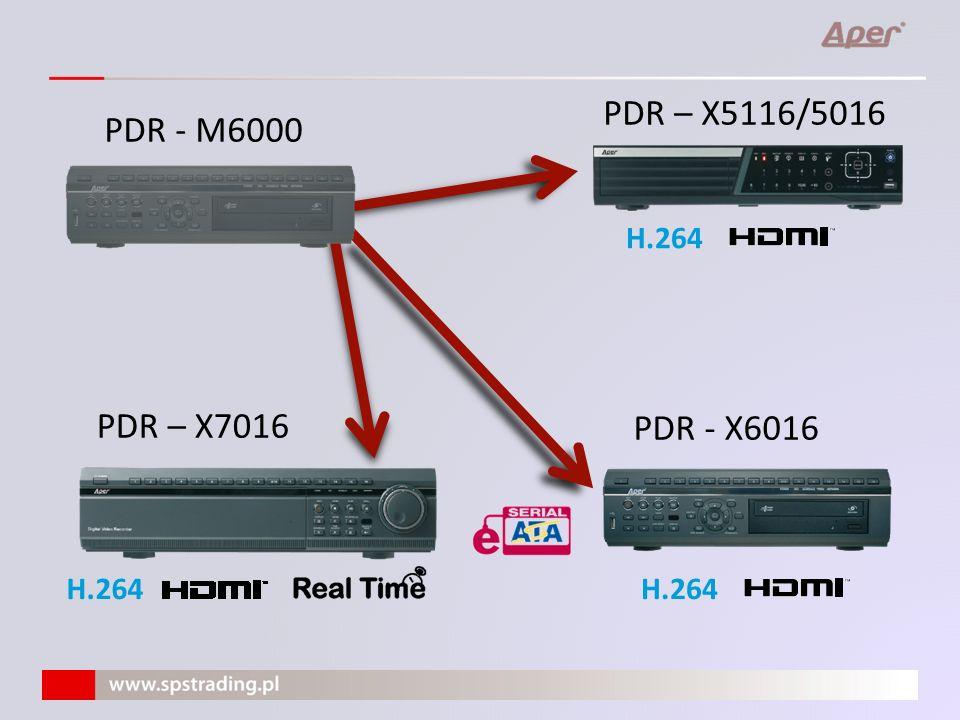 PDR-X6016 o 400 klatek w CIF o Kompresja H.264 o 4 (3) dyski HDD S-ATA o Zewnętrzne macierze (JBOD/RAID) do 10 dysków o Mirroring o Archiwizacja FTP o Detekcja wtórna o Wyjścia – HDMI, VGA, BNC o 16 wejść Audio o 16 wejść alarmowych /4 wyjścia o Nagrywarka DVD o Obsługa H.264 Obsługa lokalna: o Standardowy panel przedni o Pilot IR o Mysz USB o Pulpit (PDR-KBD) - interfejs RS485 Obsługa zdalna: CMS Lite, EMS (do 999 urządzeń), IE, iSMS (Macintosh), oprogramowanie mobilne (iPhone/iPad, WindowsMobile, Android, BlackBerry)