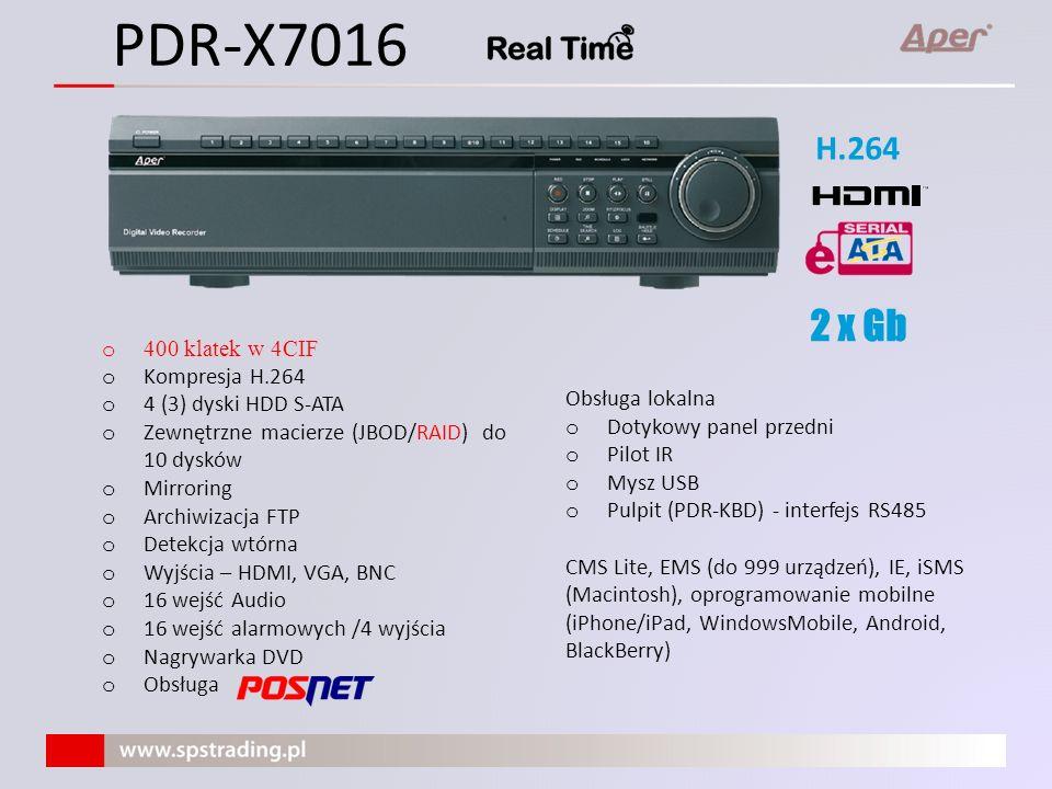 Interfejsy komunikacyjne Ethernet (LAN) Gb/s (2 x 1 Gbit dla X7000) – praca w sieci IP USB - archiwizacja danych - kopiowanie/ładowanie ustawień - aktualizacja firmwareu (dostępna dla użytkownika) RS-422 – współpraca z: - kamerami obrotowymi - pulpitem sterującym