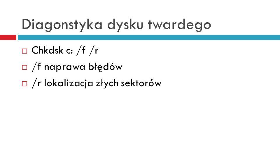 Diagonstyka dysku twardego Chkdsk c: /f /r /f naprawa błędów /r lokalizacja złych sektorów