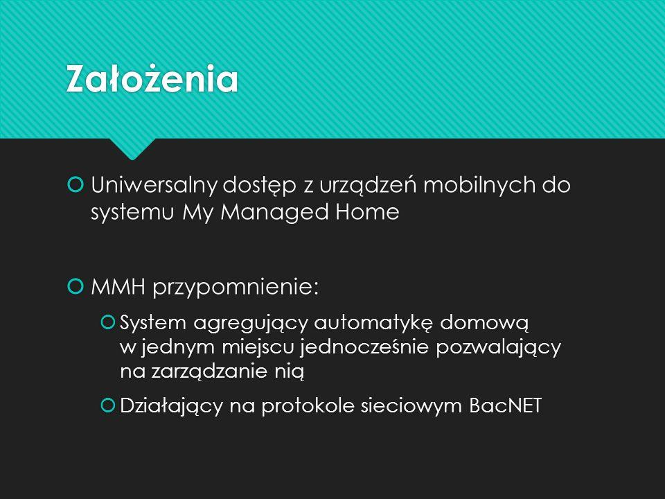 Założenia Uniwersalny dostęp z urządzeń mobilnych do systemu My Managed Home MMH przypomnienie: System agregujący automatykę domową w jednym miejscu j