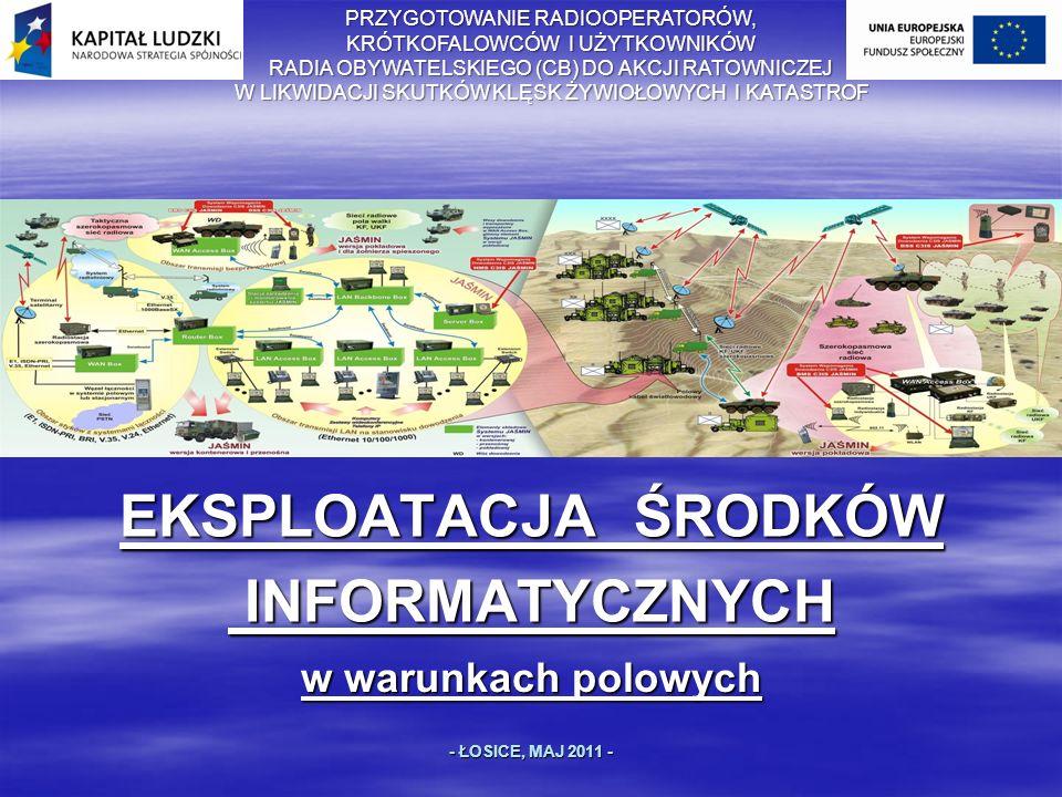 EKSPLOATACJA ŚRODKÓW INFORMATYCZNYCH INFORMATYCZNYCH w warunkach polowych - ŁOSICE, MAJ 2011 - PRZYGOTOWANIE RADIOOPERATORÓW, KRÓTKOFALOWCÓW I UŻYTKOWNIKÓW RADIA OBYWATELSKIEGO (CB) DO AKCJI RATOWNICZEJ W LIKWIDACJI SKUTKÓW KLĘSK ŻYWIOŁOWYCH I KATASTROF