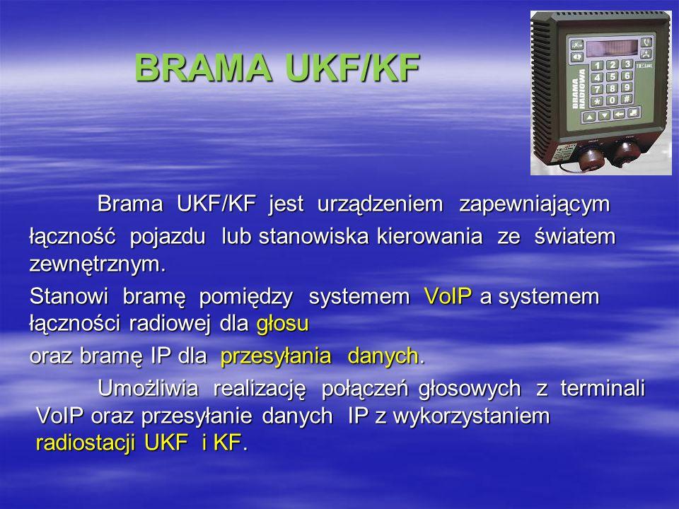 BRAMA UKF/KF BRAMA UKF/KF Brama UKF/KF jest urządzeniem zapewniającym łączność pojazdu lub stanowiska kierowania ze światem zewnętrznym.